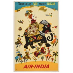 Original Vintage Poster There Is An Air About India Air India Maharajah Elephant