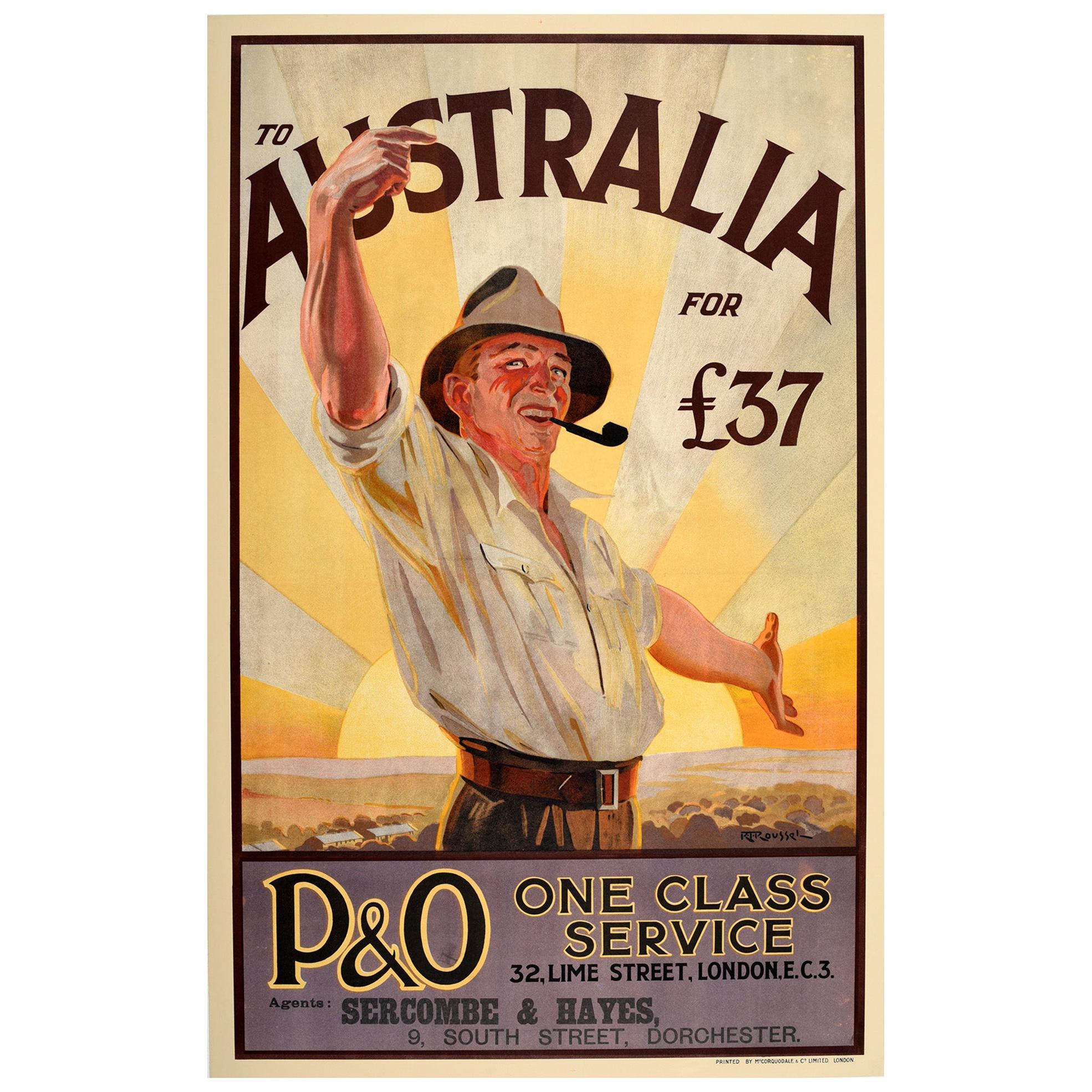 Original Vintage Poster To Australia P&O Cruise Travel Art Countryside Welcome