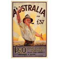 Original Vintage Poster To Australia P&O Cruise Travel Art Countryside Welcome