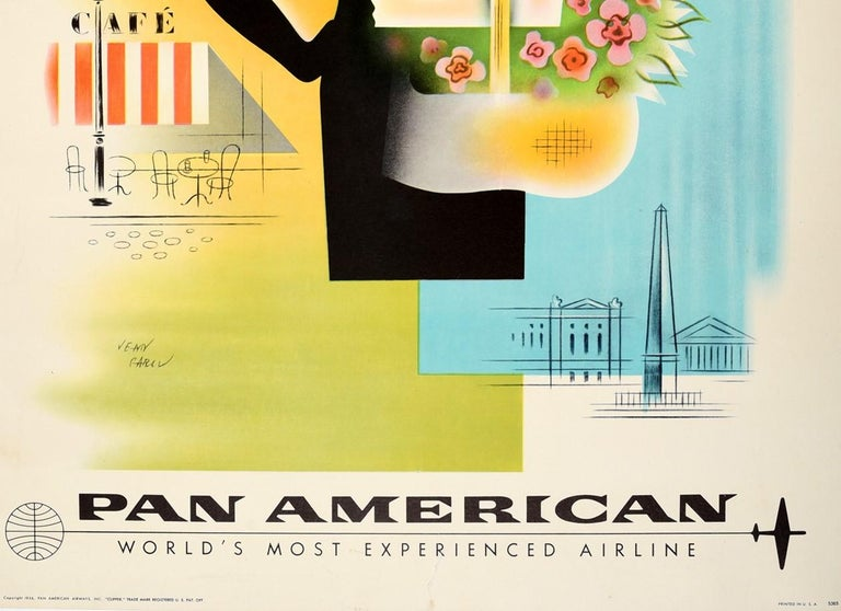 Original Vintage Poster To Paris Pan American Air Travel Eiffel Tower Notre Dame In Good Condition For Sale In London, GB