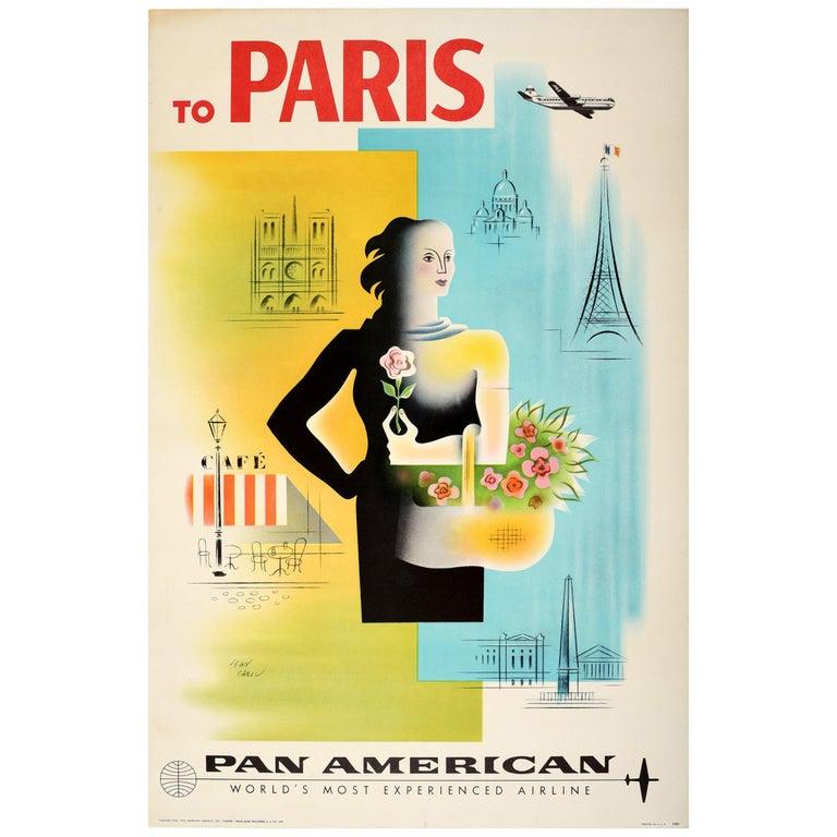 Original Vintage Poster To Paris Pan American Air Travel Eiffel Tower Notre Dame For Sale