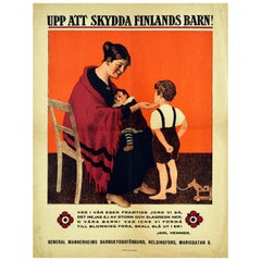 Original Vintage Poster To Protect The Children Of Finland Baby Child Welfare