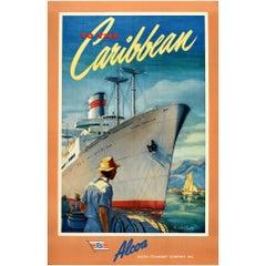 Original Vintage Poster To The Caribbean Alcoa Steamship Co. Victory Ship Cruise