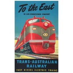 Original Vintage Poster, 'To The East Trans-Australian Railway' 'c. 1951'