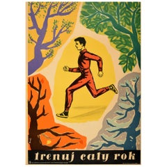 Original Vintage Poster Train All Year Trenuj Caly Rok Sport Health Fitness Run