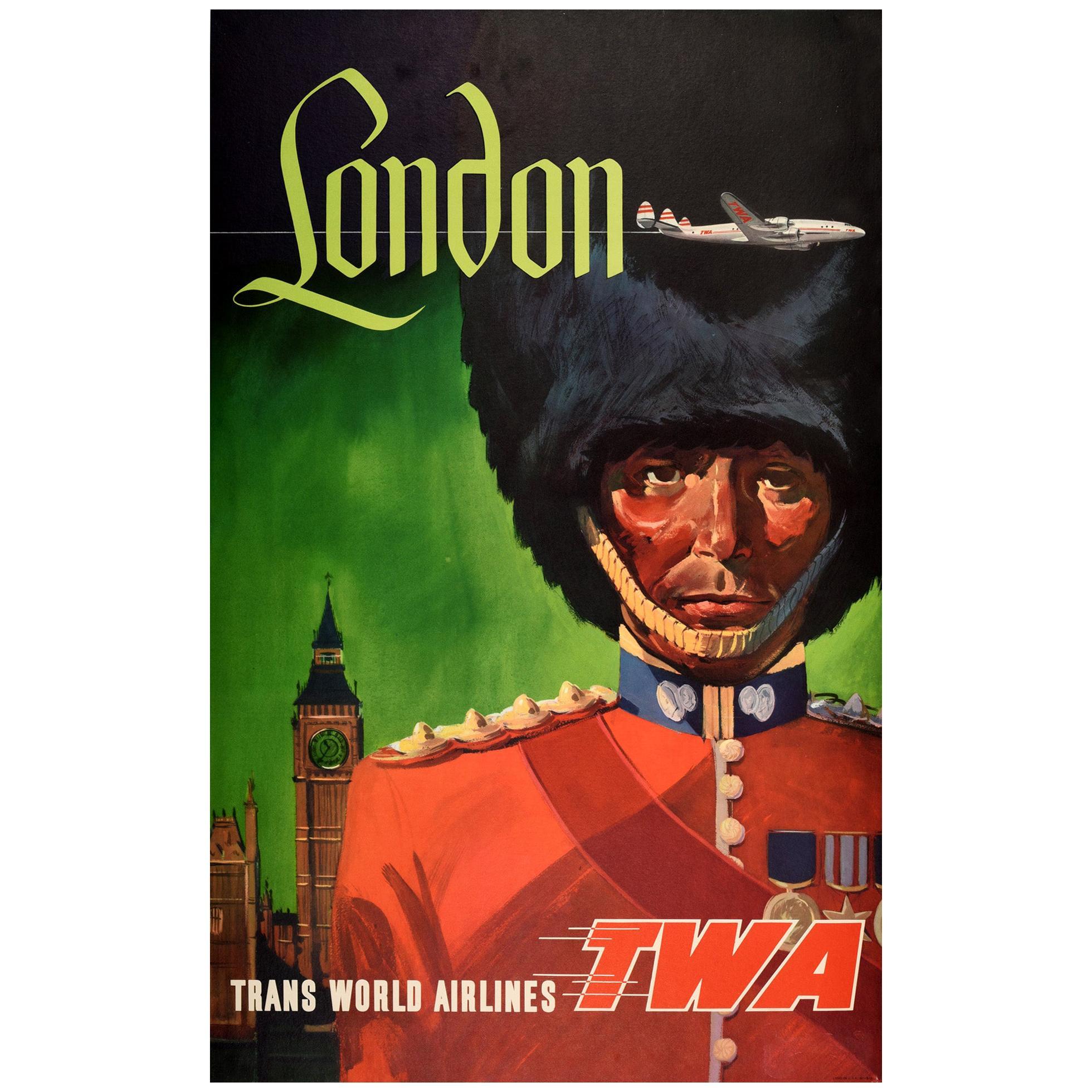 Original Vintage Poster Trans World Airlines TWA London Royal Guard Travel Art