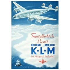 Original Vintage Poster Transatlantic KLM Flying Dutchman De Vliegende Hollander