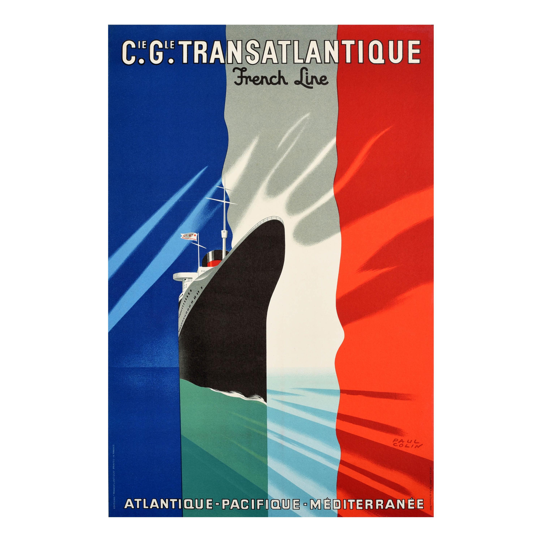 Original Vintage Poster Transatlantique French Line Ocean Liner Cruise Travel