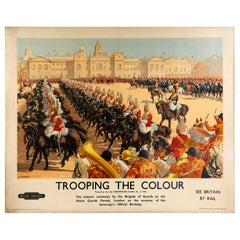 Original Vintage Poster Trooping The Colour Horse Guards London British Railways