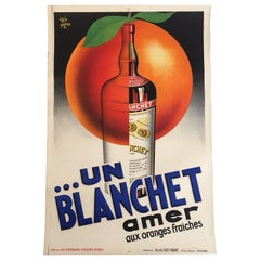 Original Vintage Poster Un Blanchet Amer Alcohol Beverage 1936 Lithograph poster