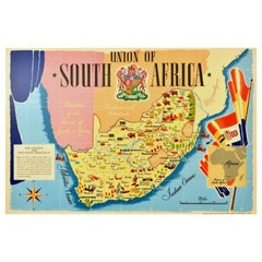 Original Vintage Poster Union Of South Africa Map Natural & Industrial Resources
