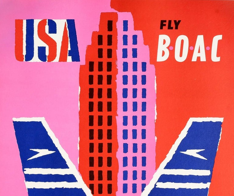Original vintage travel poster for USA Fly BOAC British Overseas Airways Corporation featuring a fun and colourful mid-century design by the notable British graphic designer Abram Games (Abraham Gamse; 1914-1996) depicting a smiling man in a cowboy