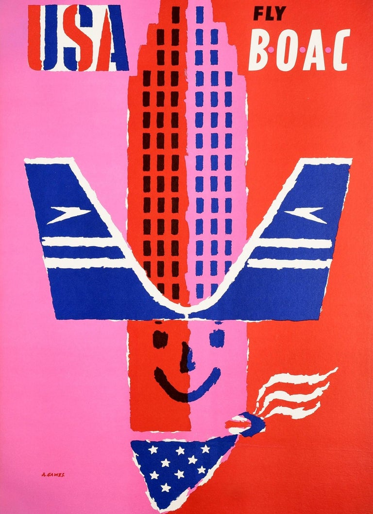 British Original Vintage Poster USA Fly BOAC Airline Travel America Midcentury Design For Sale