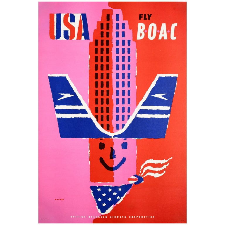 Original Vintage Poster USA Fly BOAC Airline Travel America Midcentury Design For Sale