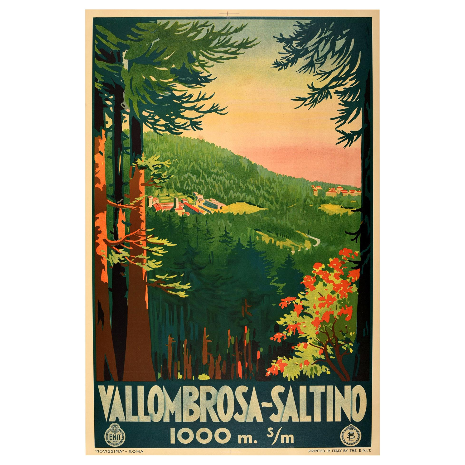 Original Vintage Poster Vallombrosa Saltino Tuscany Forest Railway Travel ENIT