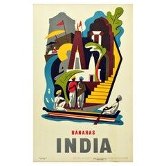 Original Vintage Poster Varanasi Banaras India River Ganges Ghat Asia Travel Art