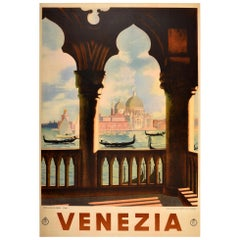 Original Vintage Poster Venezia Venice Italy Canal Gondola Basilica Palazzo ENIT