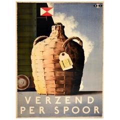 Original Vintage Poster Verzend Per Spoor Express Goods By Rail Wine Den Haag