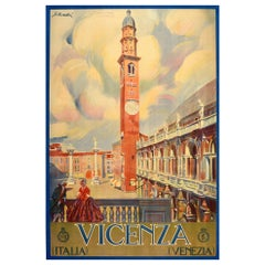 Original Vintage Poster Vicenza Italia Italy Travel Renaissance Basilica Piazza