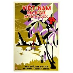 Original Vintage Poster Vietnam Rach-Gia Ha-Tien Phu-Quoc Island Asia Travel Art