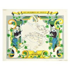 Original Vintage Poster Vignobles De France Vineyards Vins De Champagne Wine Map