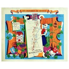 Original Vintage Poster Vignobles De France Vins De Bourgogne Burgundy Wine Map