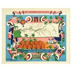 Original Vintage Poster Vignobles De France Vins Du Val De Loire Valley Wine Map