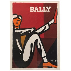 Original Vintage Poster VILLEMOT BERNARD BALLY MAN SHOES 1986 LITHOGRAPH