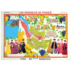 Original Vintage Poster Vineyards Of Bordeaux Wine Map Les Vignobles De France