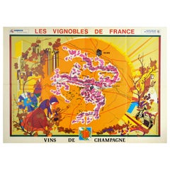 Original Vintage Poster Vineyards Of Champagne Wine Map Les Vignobles De France