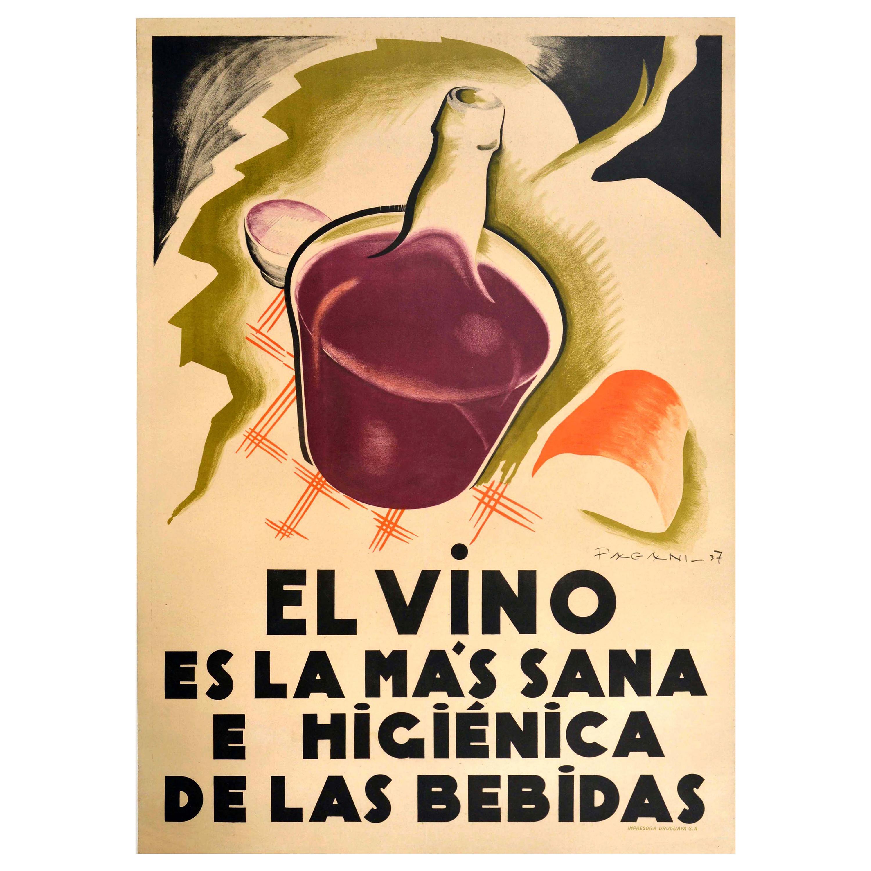 Original Vintage Poster Vino Art Deco Wine Healthiest Drink Louis Pasteur Quote