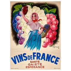 Original Vintage Poster Vins De France Sante Gaiete Esperance French Wine Cheer