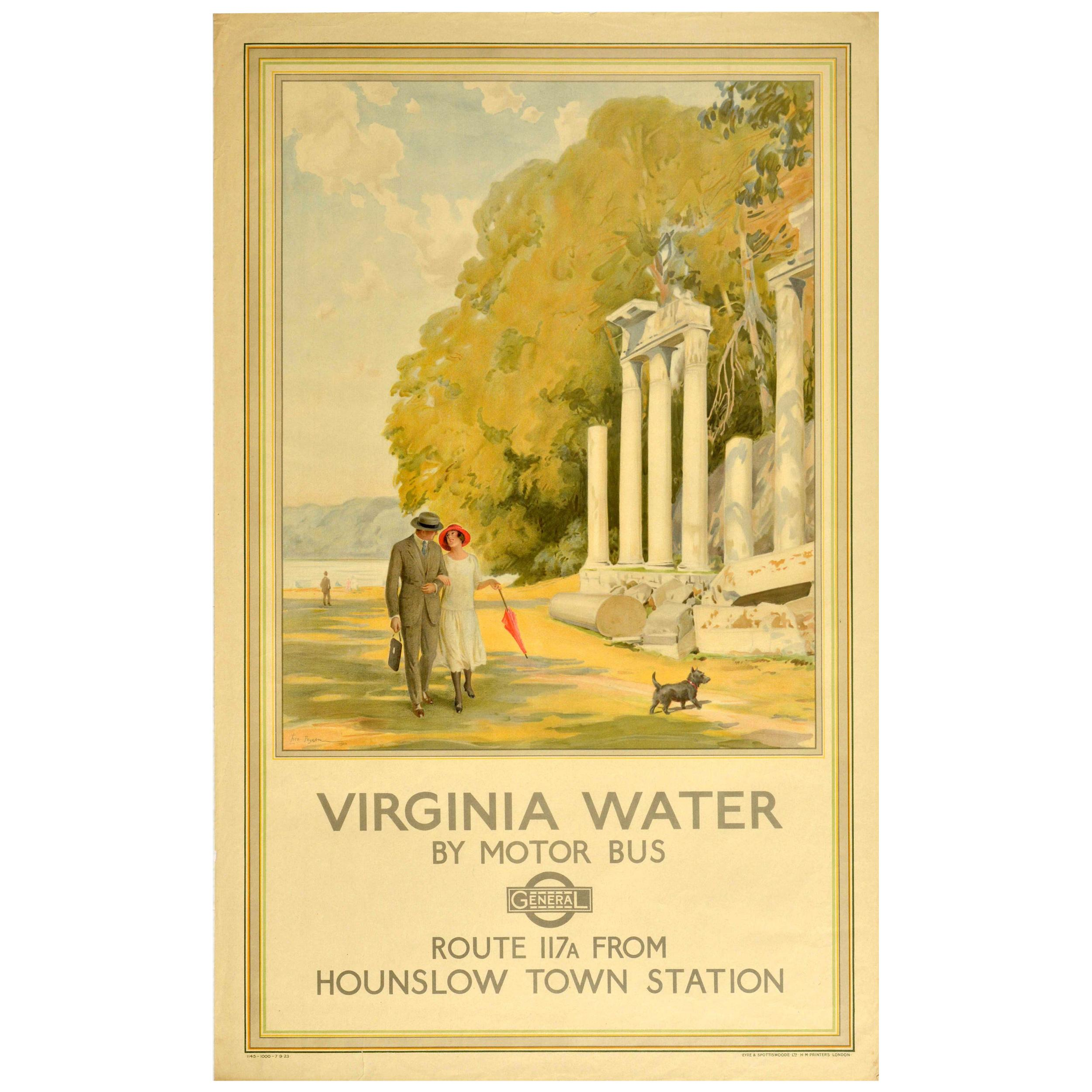 Original Vintage Poster Virginia Water Lake Park Ruins Dog Walk London Transport