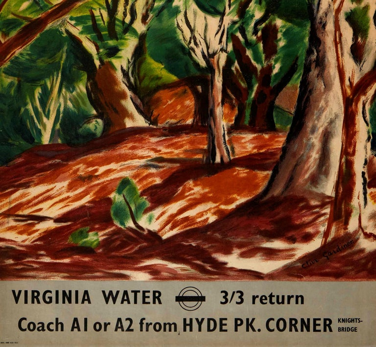 British Original Vintage Poster Virginia Water London Transport Hyde Park Knightsbridge For Sale