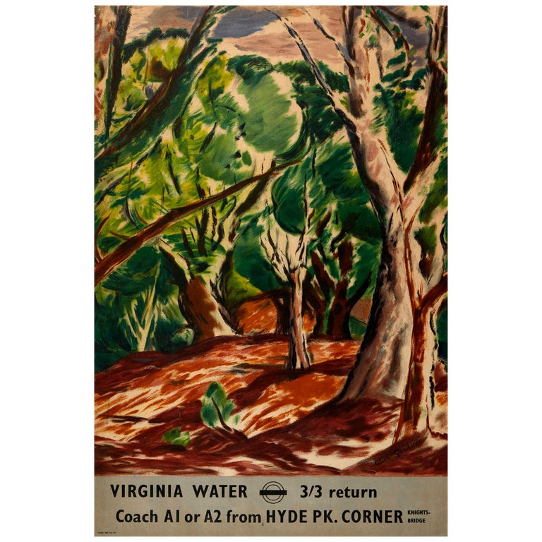 Original Vintage Poster Virginia Water London Transport Hyde Park Knightsbridge For Sale