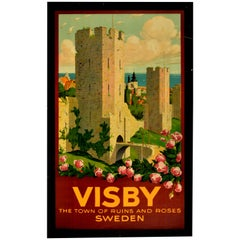 Original Vintage Poster Visby Town Ruins Roses Sweden Travel Medieval City Wall