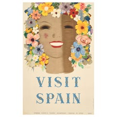 Original Vintage Poster Visit Spain Travel Floral Design Flowers Art Typography