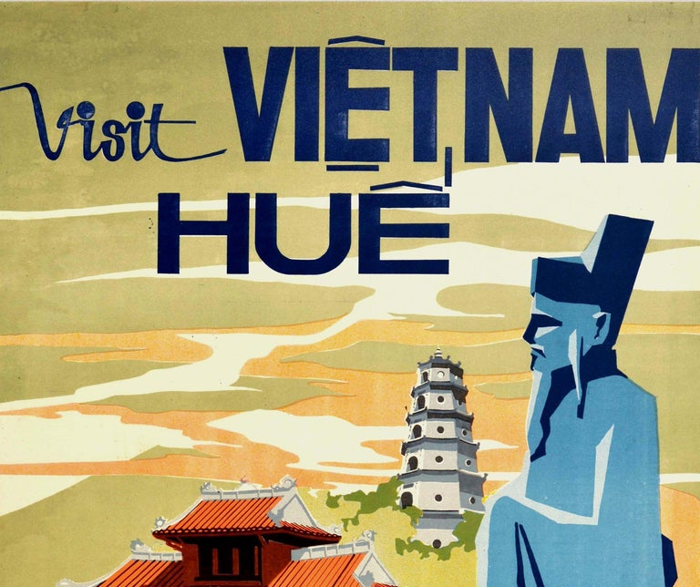 Original vintage travel poster - Visit Vietnam Hue - featuring a colourful midcentury design of an Imperial Palace with the historic Chua Thien M? aka Thien Mu / Pagoda of the Celestial Lady and one of the statues from the Lang Khai D?nh / Khai Dinh
