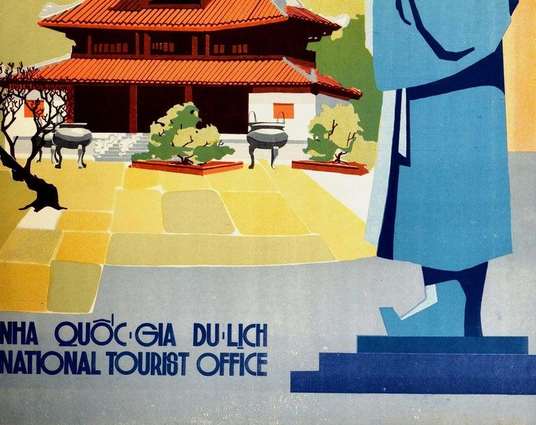 Vietnamese Original Vintage Poster Visit Vietnam Hue Khai Dinh Statue Pagoda Palace Travel For Sale