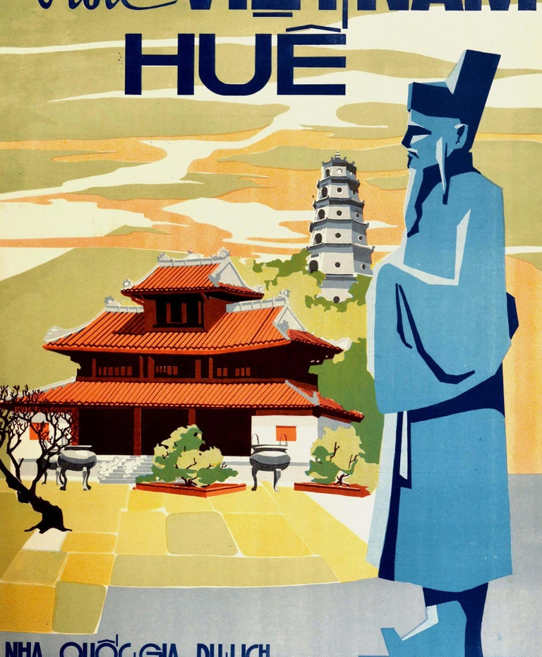 Original Vintage Poster Visit Vietnam Hue Khai Dinh Statue Pagoda Palace Travel In Excellent Condition For Sale In London, GB