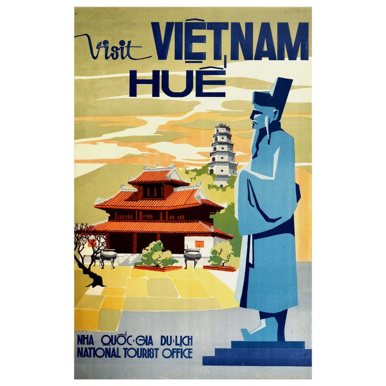 Original Vintage Poster Visit Vietnam Hue Khai Dinh Statue Pagoda Palace Travel For Sale