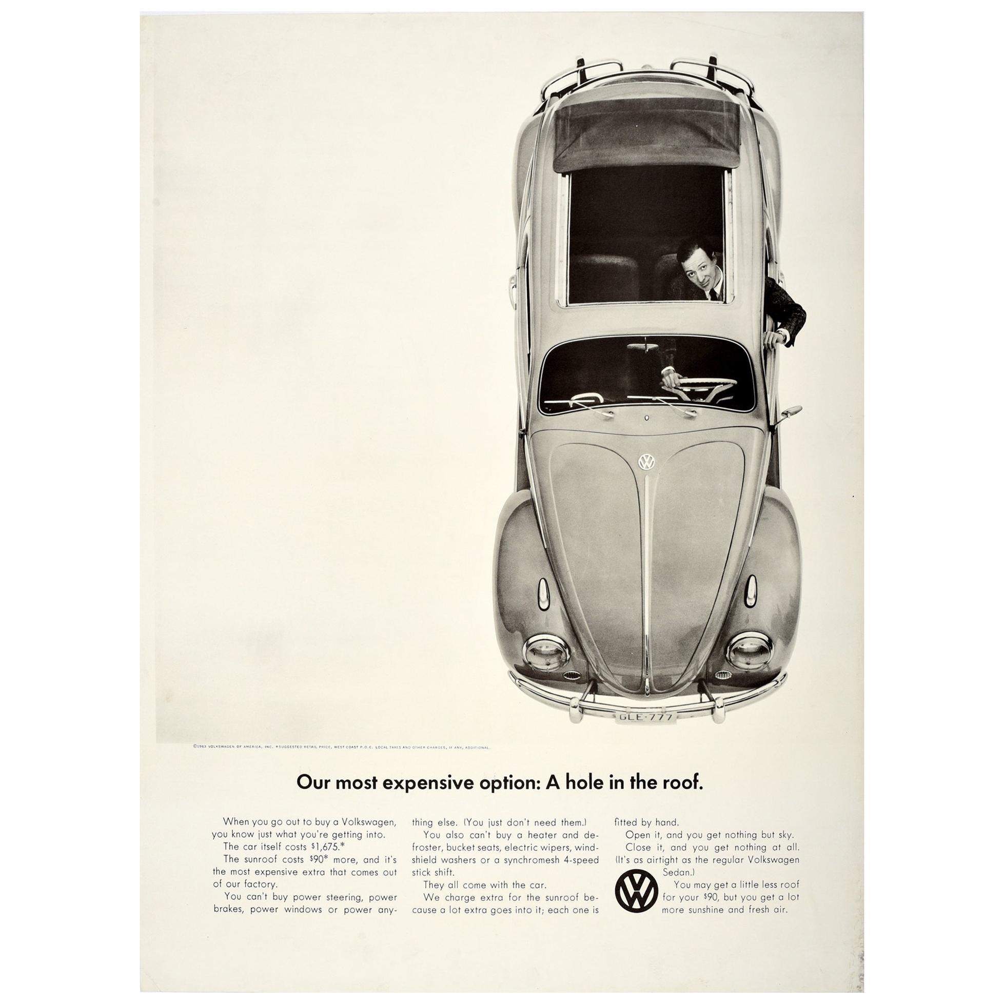 Original Vintage Poster Volkswagen Car Showroom Ad VW Beetle Hole In The Roof