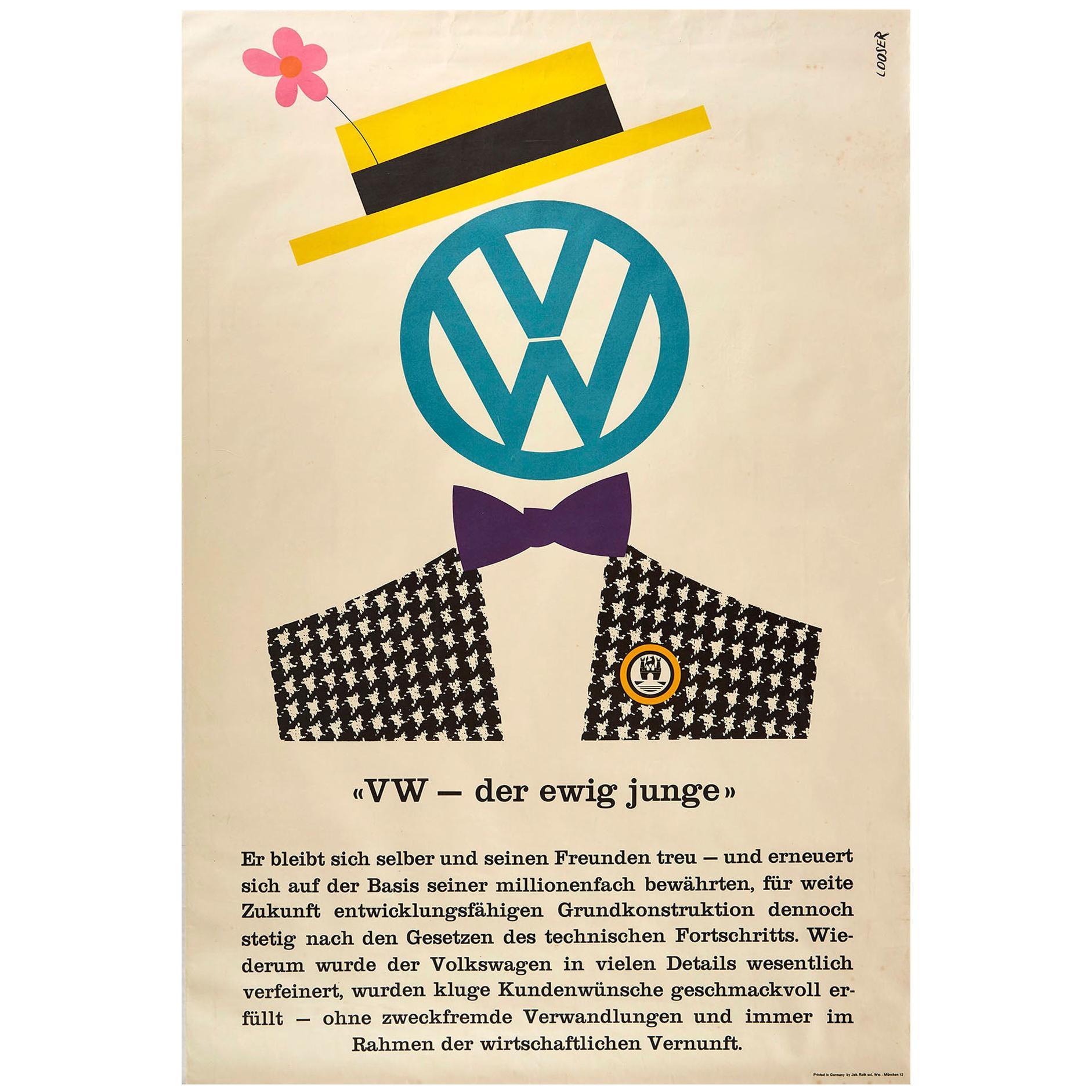 Original Vintage Poster Volkswagen Der Ewig Junge Eternally Young VW Car Design