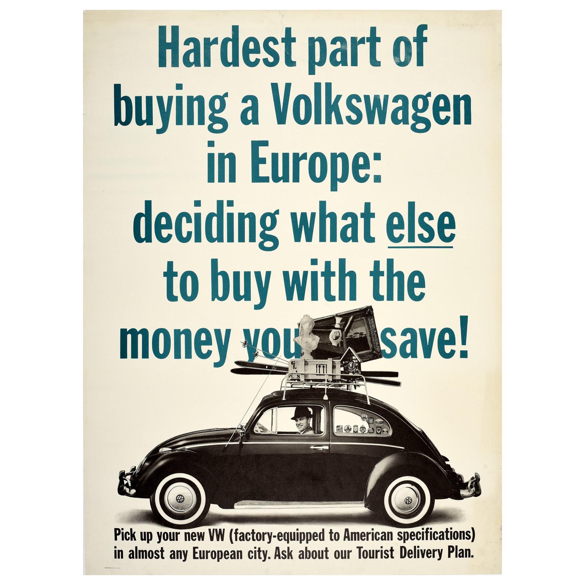Original Vintage Poster VW Beetle Car Showroom Ad Buying A Volkswagen In Europe