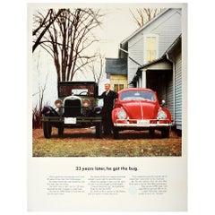 Original Vintage Poster VW Bug Ford Model A Volkswagen Beetle Car Showroom Ad