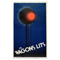 Original Vintage Poster Wagons Lits Night Sleeper Carriages State Railway Travel