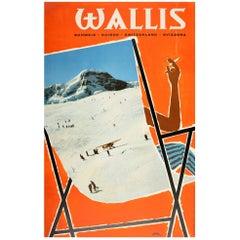 Original Vintage Poster Wallis Valais Ski Resort Winter Sport Deck Chair Design