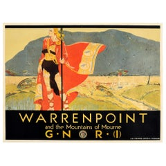 Original Vintage Poster Warrenpoint And The Mountains Of Mourne Ireland Railway
