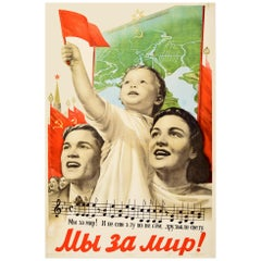 Original Vintage Poster We Are For Peace Soviet Propaganda Flags Map Music Song
