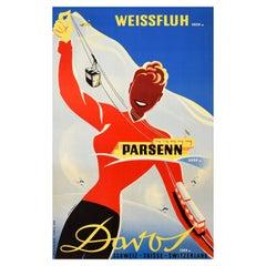 Original Vintage Poster Weissfluh Parsenn Davos Switzerland Skiing Winter Sport